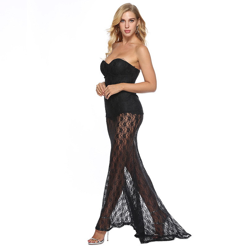 6587dcca42e ... See Through Maxi Dress Off Shoulder Strapless Lace Bustier Party Dress  Mesh Overlay See Through Maxi ...