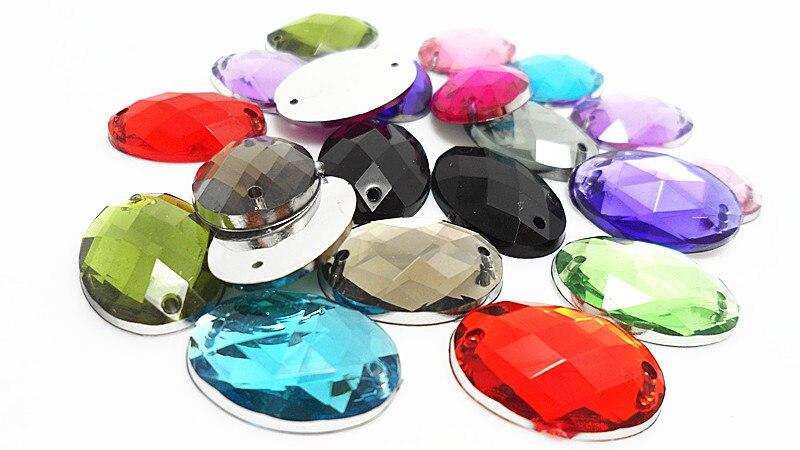 200pcs/bag 16colors 18*25mm Oval Acrylic sew on rhinestones flat back,DIY Handmade garment Jewelry accessories 200pcs bag 100