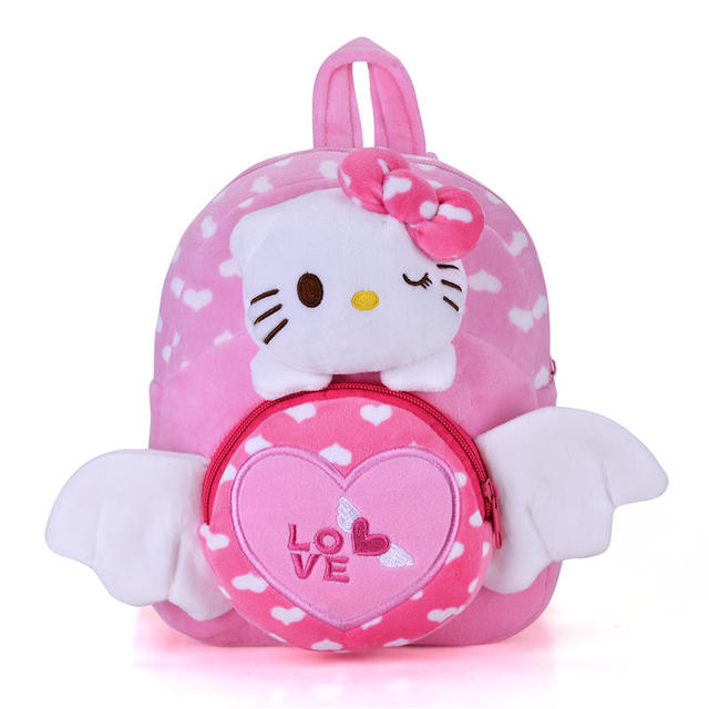 plush 2 layer children cat backpacks kindergarten school bags best christmas gifts for kids girls 1