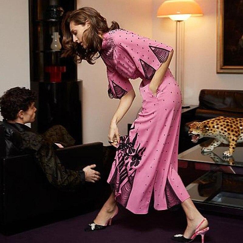 Violet mode robe italie Milan Vintage vague Point fleur imprimé chauve-souris manches Midi fête nuit élégant haute qualité été femmes