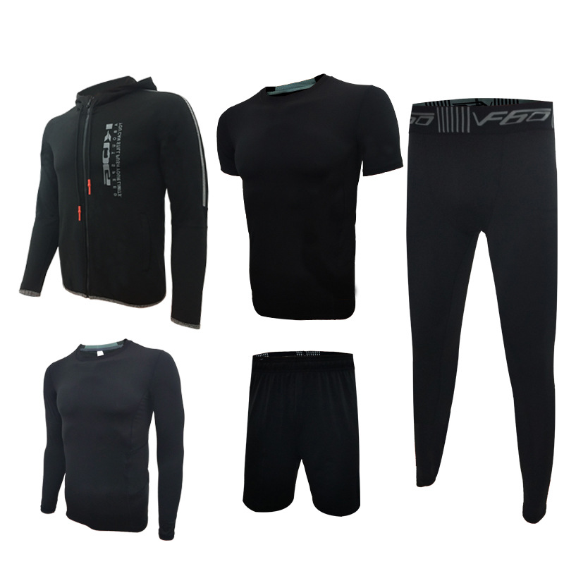 5pcs=1Set Sports Running Set Fitness Jacket men's long sleeved running tight training clothes fastdry Breathable gym suit LX wosawe men compression tights cycling base layer running fitness workout gym clothes long johns sports pant jersey suit