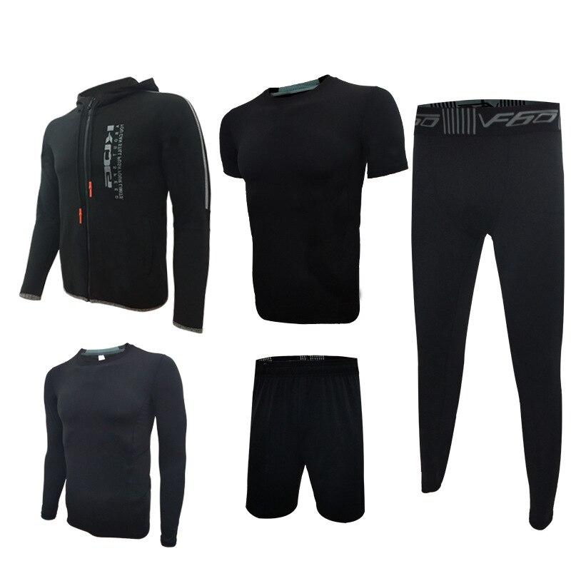 5pcs=1Set Sports Running Set Fitness Jacket men's long sleeved running tight training clothes fastdry Breathable gym suit LX фен solis fastdry чёрный