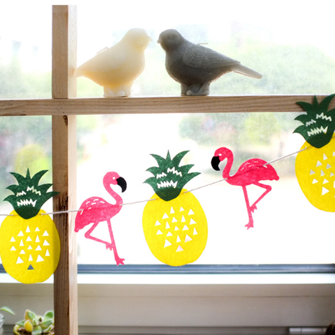 Party Decoration Happy Birthday Flamingo Banner Flag Garland Hawaiian Tropical Coconut Leaves Event Wedding Party Supplies
