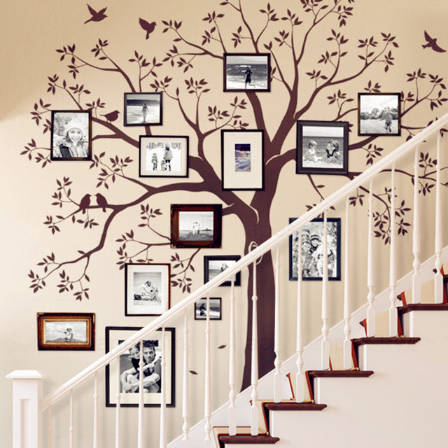 Huge Family Tree Wall Decal Vinyl Stickers Decor, Staircase Family Tree  Decal, Tree Wall