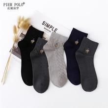 Men Cotton grew Socks Brand New PIER POLO Casual Business Anti-Bacterial Deodorant Breatheable Man Long Sock 5pairs / lot