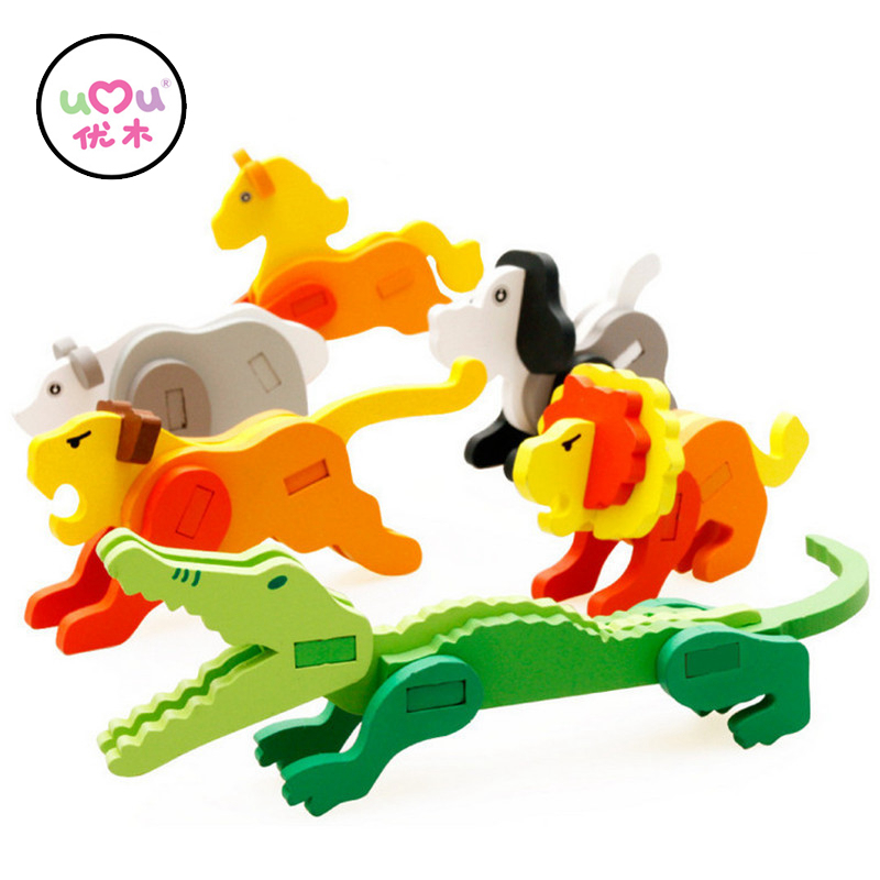 3D Cute Cartoon Animal Wooden Puzzles Toy Educational Toys For Children Educational Toy Early Learning Jigsaw UQ2088H coeus 3d wooden puzzle the beautiful world the wedding chapel educational games for kids 3d puzzles for adults