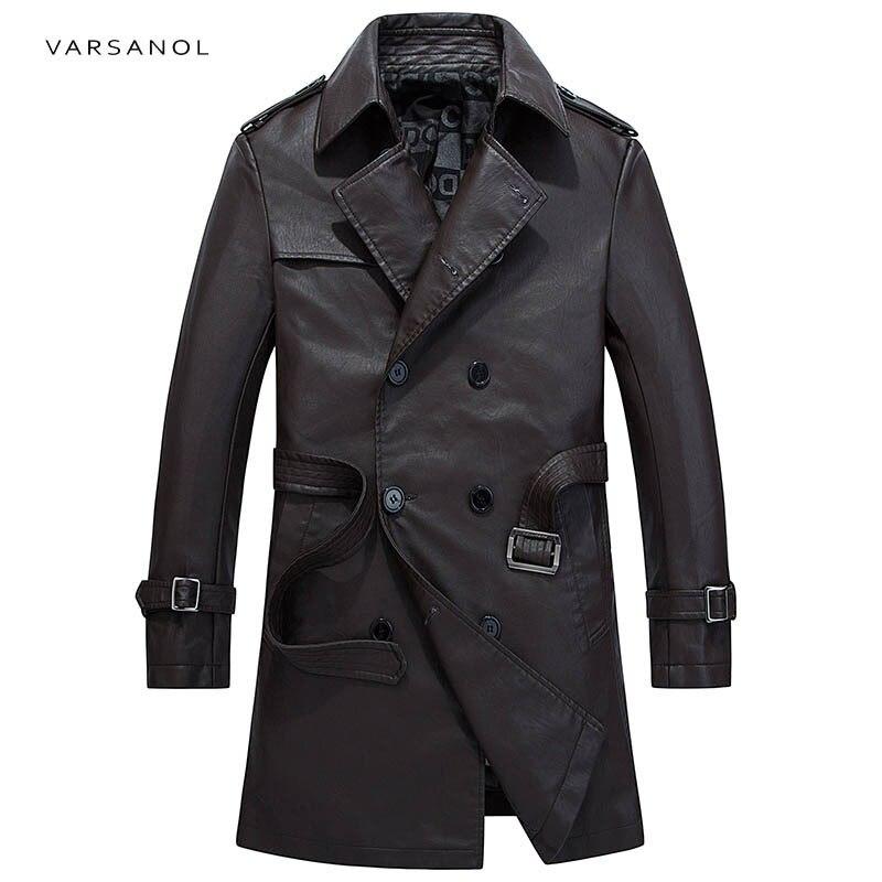 Varsanol Brand Mens Long Trench Jackets Coats Windbreaker Long Sleeve Autumn Turn-Down Collar Coffe Waistband Button Clothing