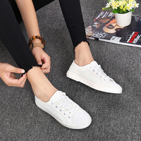 Fashion canvas women casual   shoes   Hard-Wearing comfortable flat sneakers women Lace-Up white summer   vulcanize     shoes   DLD901