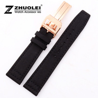 21mm New Black High Quality Nylon Genuine Leather Watch Band With Gold Brushed Depolyment Stainless Steel