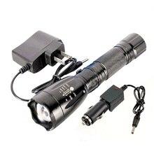 3000LM Brillante estupendo XM-L T6 LED Recargable de la Linterna Lámpara de La Antorcha W + AC Cargador de Coche Luces de Caza Al Aire Libre que va de Excursión