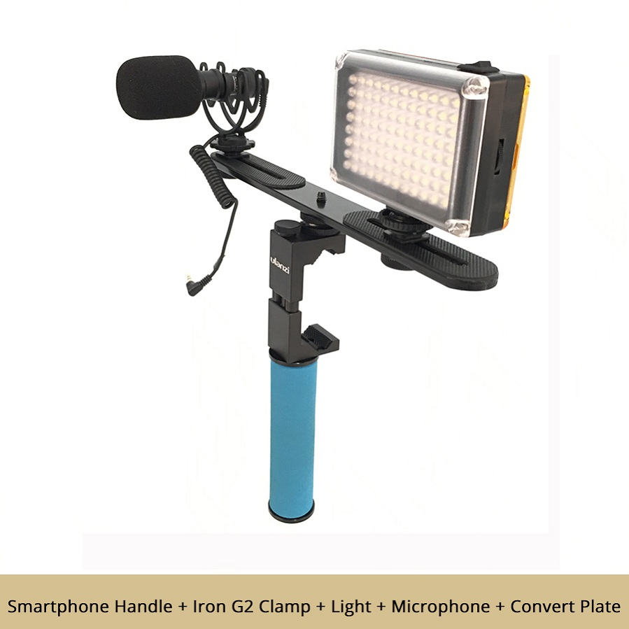US $7 0 20% OFF DIGITALFOTO Smartphone Video Rig Filmmaking Mobile  Stabilizer youtube videos Selfie Led Light Microphone table tripod for  Iphone-in