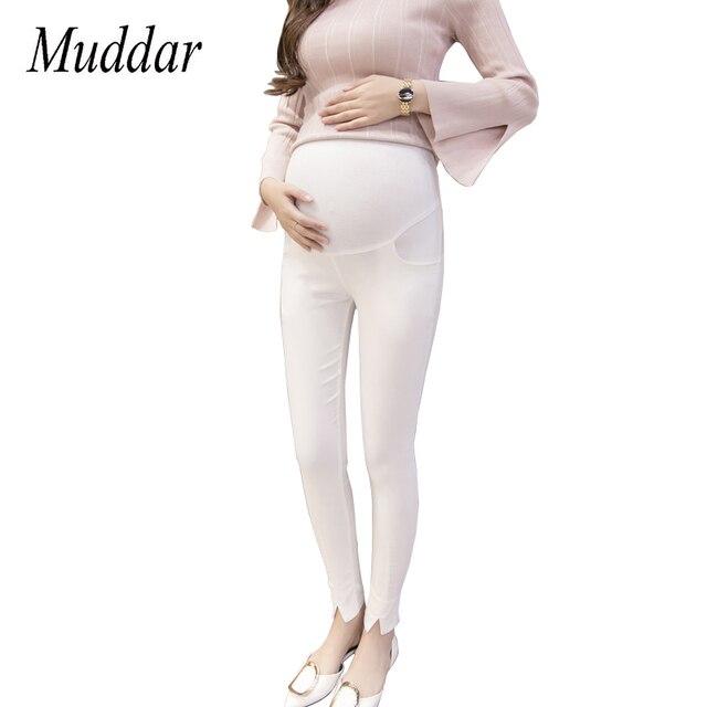 96d7c5230d634 Maternity Leggings Split Pants For Pregnant Women Stretch Trousers High  Waist Pregnancy Pencil Pants White Black