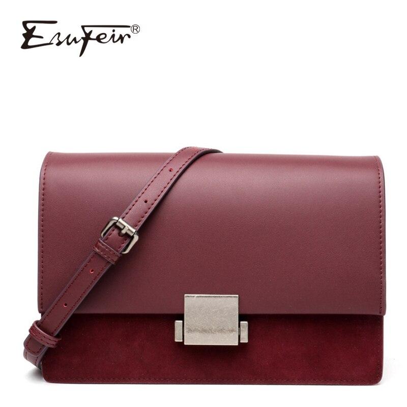 New ESUFEIR Scrub Genuine Leather Shoulder Bag for women Messenger Bags Female Crossbody Bag Fashion Lock Design Brand Women Bag цена