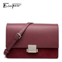 New ESUFEIR Scrub Genuine Leather Shoulder Bag for women Messenger Bags Female Crossbody Bag Fashion Lock Design Brand Women Bag