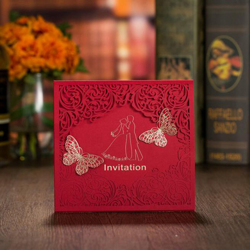 50Pcs Red Bride And Groom Marriage Wedding Invitations Cards Laser Cut 3D Card Greeting Card Postcard Event Party Supplies 1pcs sample laser cut bride and groom marriage wedding invitations cards greeting cards 3d cards postcard event party supplies