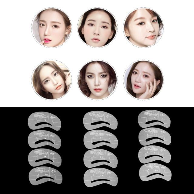 24 Styles/Set Eyebrow Grooming Stencil Shaper Kit Template Eye Brow Makeup Shaping Beauty DIY Eyebrow Grooming Stencil Tools 1