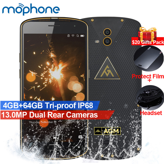 """AGM X1 смартфон tri-доказательство IP68 4 г 5.5 """"64-разрядный Восьмиядерный процессор Qualcomm Snapdragon 617-core 4 ГБ + 64 ГБ 13.0MP двойной камеры заднего 5400 мАч телефона"""