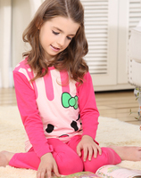 Retail Girls Long Sleeves Cartoon Pajama Sets For Spring Fall 2014 New 100 Cotton Children Pyjamas