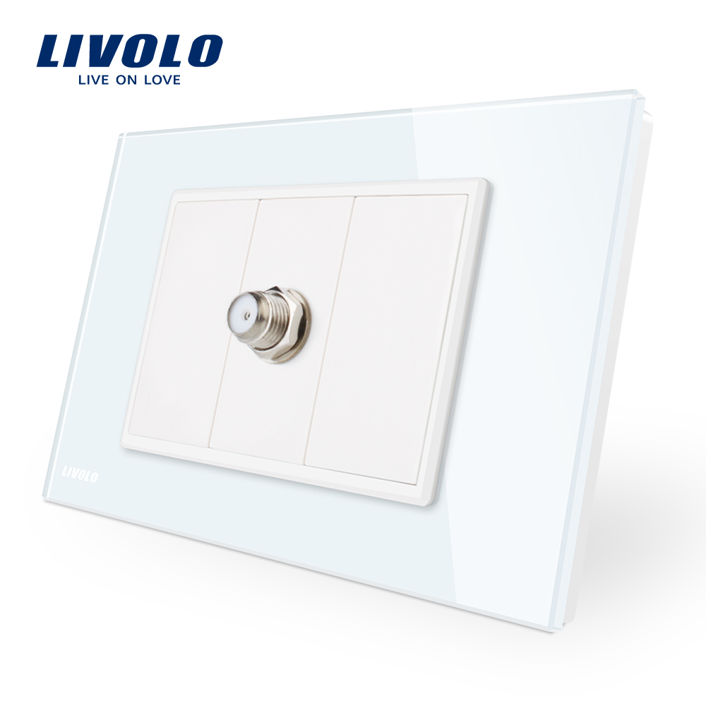 цена Livolo New Arrival one gang Satellite TV socket White Crystal Glass Panel Wall Power Socket 110-250V,VL-C91ST-11
