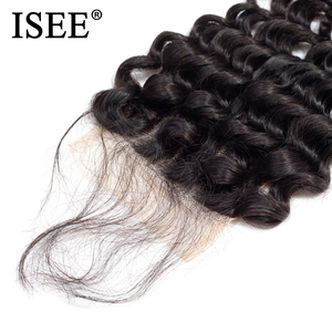 Image 5 - ISEE Brezilyalı Derin Dalga Dantel Kapatma 4*4 Ücretsiz Bölüm İnsan Saç Kapatma 130% Kader İsviçre Dantel Remy Saç kapatma Ücretsiz Kargo