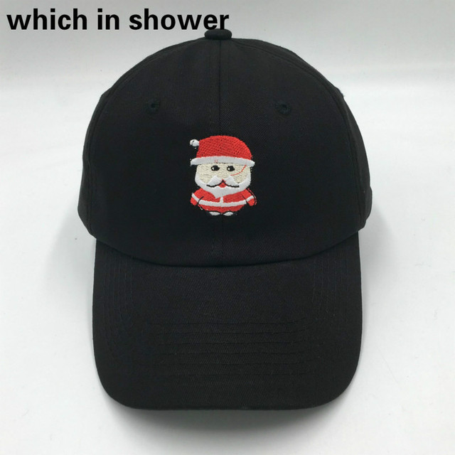 4c617d45 embroidery cartoon Santa Claus dad hat for women or men black adjustable  cotton Christmas baseball cap