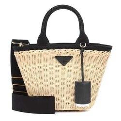 Frauen tasche luxus handtaschen rattan Stroh umhängetaschen für frauen Aus Echtem Leder strand korb taschen original marke designer 2019