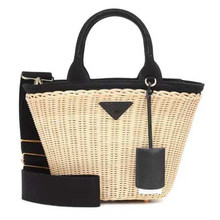 Kadın çanta lüks çanta rattan Straw crossbody kadınlar için hakiki deri plaj sepeti çanta orijinal marka tasarımcısı 2019
