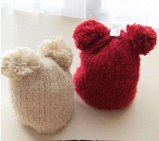 Super cute Hat female autumn and winter knitted hat knitted hat parent-child thick soft warm hat female cap ear protector