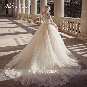 Image 2 - Ashley Carol Lace Ball Gown Wedding Dress 2020 Sexy Scoop Long Sleeve Beading Luxury Princess Bridal Dresses Vestido De Novia