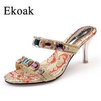 Ekoak 2017 New arrived women High Heel rhinestone Sandals party wedding shoes fashion ladies women dress shoes woman