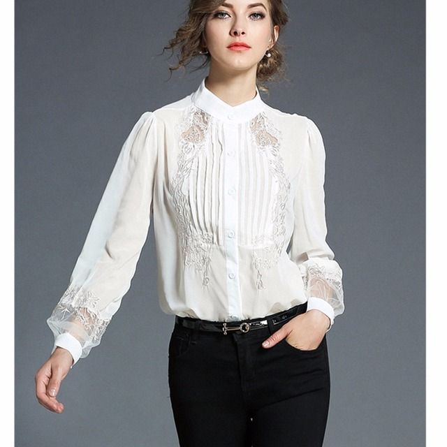 4deb686714e 2018 Fashion Women Tops Embroidery Transparent Floral Lantern Sleeves Black  Blouse Shirt Ladies Work Wear Office Chiffon Blouse