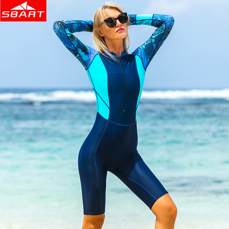 SBART Women Lycra Rash Guards Anti-UV One-Piece Short/Long Sleeve Beach Clothes Swimsuit for Scuba Diving Snorkel Rash Guards sbart upf50 rashguard 2 bodyboard 1006