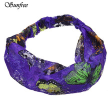 Sunfree 2016 New Arrival 1PC Lace Big Butterfly Print Hair Band Headband Fashion Lace butterfly hair band  special design Oct 25