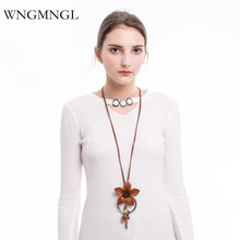 WNGMNGL 2018 New Women Long Necklaces Handmade Vintage Genuine Leather Flower Leaf Pendant Necklace for Fashion Jewelry