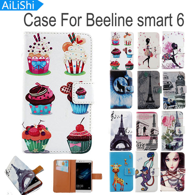 AiLiShi Flip PU Leather Case For Beeline smart 6 Case Luxury Cartoon Painted Protective Cover Skin In Stock