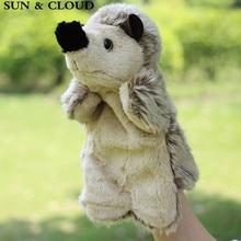 SUN & CLOUD 1 db Hedgehog Hand Finger Bábos Játékok Cartoon Animal Plüss Baba Ajándék Baby Kids