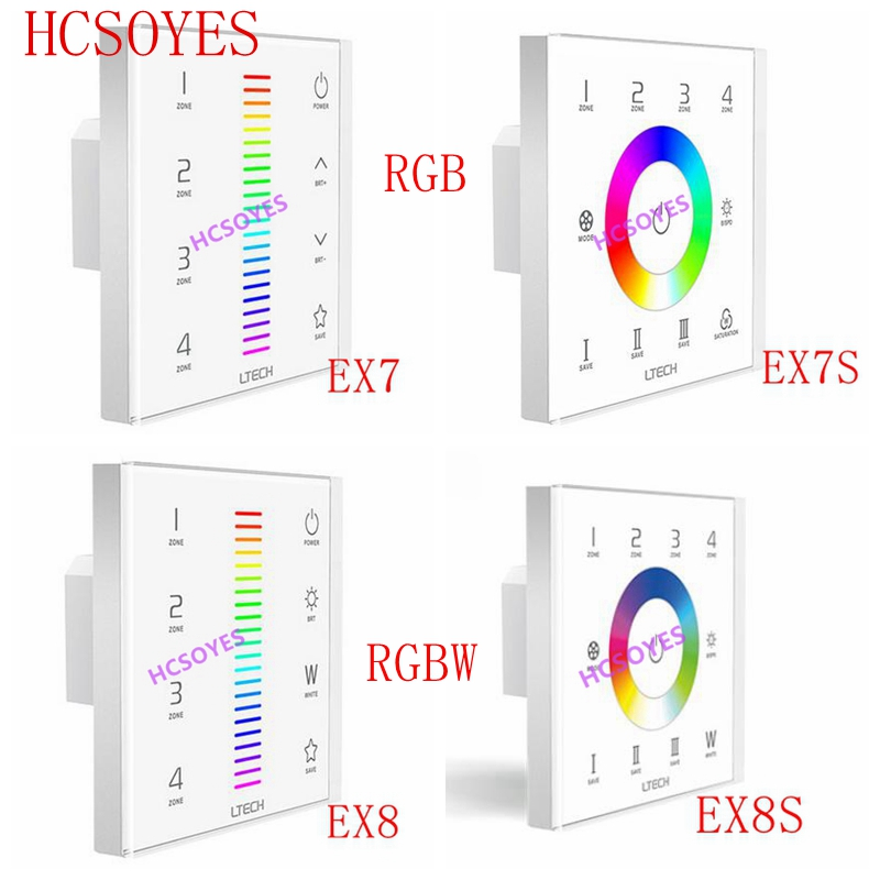 LTECH EX7S EX8 EX8S RGB RGBW touch panel 4 partitions Led RGB strip controller 220V 2