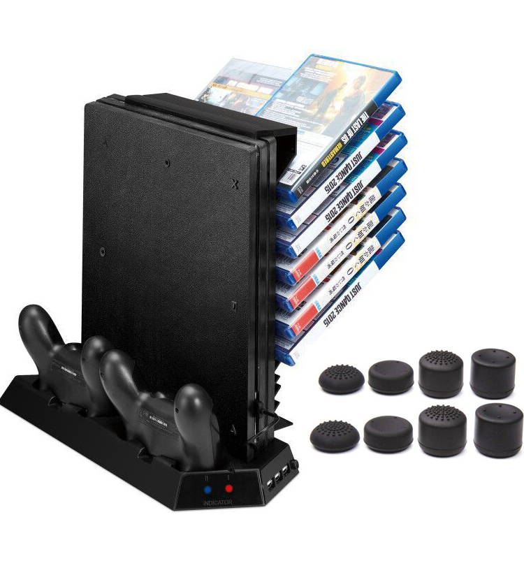 PS4 Pro Vertical Stand with Game Storage and Cooling Fan Dual Controller Charger HUB Station for Sony Playstation 4 Pro+8 caps