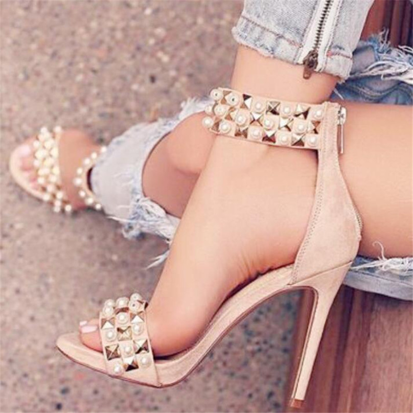 BAYUXSHUO Fashion Summer Sandals Women Luxury Rivet High Heels Suede Leather Sexy Roman Stiletto Ladies Club Party Shoes Woman bigtree summer fashion women high heels sandals suede shallow mouth pointed pearl ladies sandals sexy wedding red woman shoes
