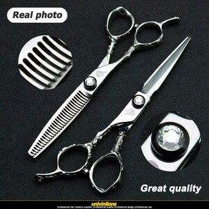 """Image 2 - Univinlions 6 """"left handed tesouras de cabeleireiro mão esquerda tesoura de cabelo para salão de beleza barbeiro esquerda corte lefty desbaste tesouras"""