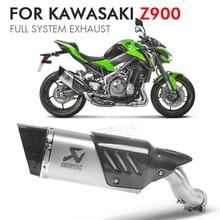 Z900 Full System Motorcycle Exhaust Pipe Escape Akrapovic Motorbike Muffler Middle link pipe For kawasaki z900 NINJA  Slip-on