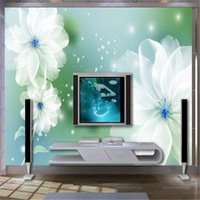 현대 무료 벽지 Hd 벽 벽화 꽃 벽지 침실 벽 장식 녹색 벽지 기능 벽 TV