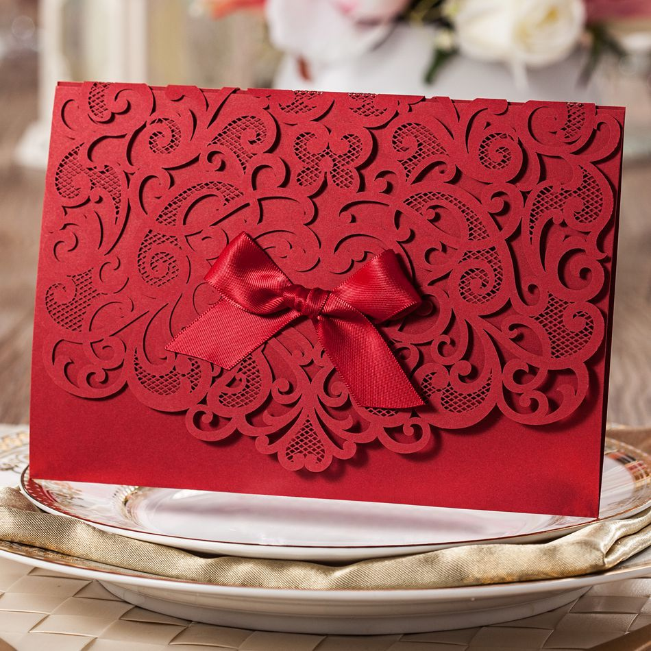 Free Personalized Elegant Red Laser Cut Floral Wedding Invitation ...