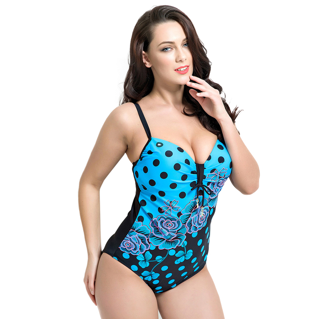274e9d975efb4 2018 One Piece Swim Suit Women Hot Sexy Large Cup Plus Size Swimwear  Swimsuit Ladies Push Up Beachwear Floral Monokini Bathing
