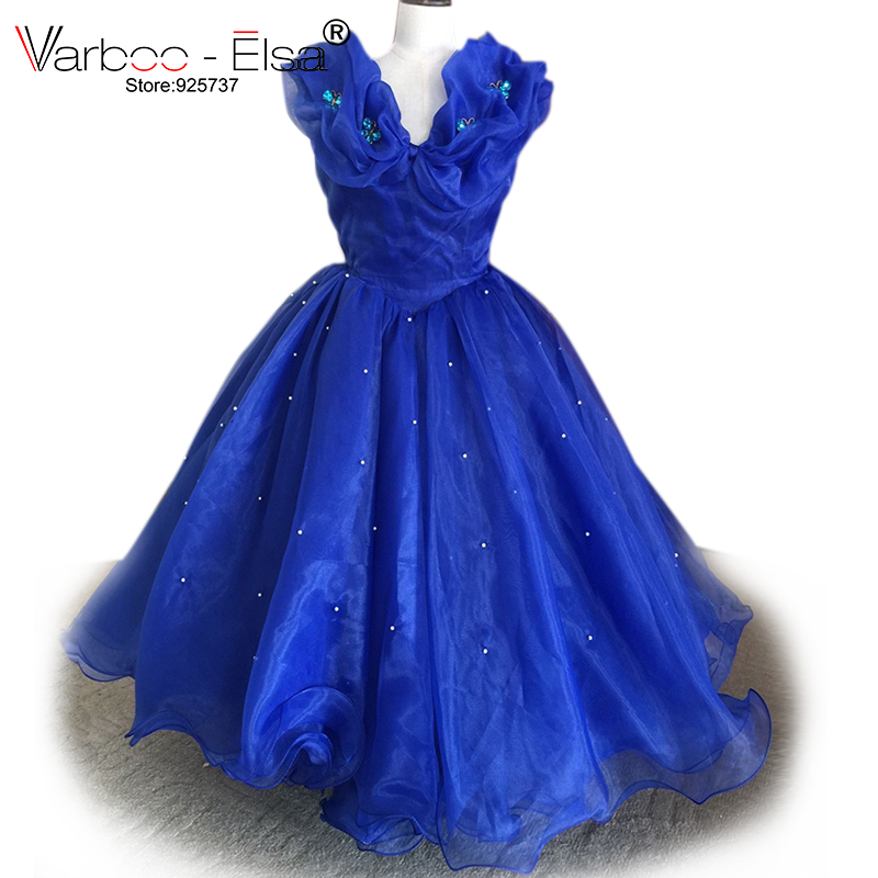 VARBOO_ELSA Royal Blue Cinderella   Dress   Litter   Girl   Wedding Party Gown 2018 Lovely Mother Daughter Organza   Flower     Girl     Dress
