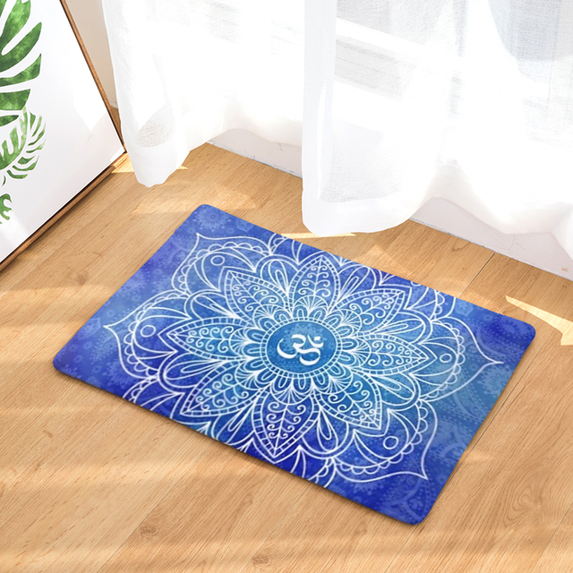 Flannel Doormat Mandala Floral Printed Floor Carpet Home Entrance