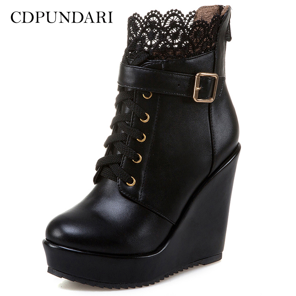 CDPUNDARI High Heels Ankle Boots For Women Platform Wedges Boots Ladies Winter Shoes Woman Black White