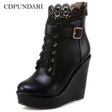 عالية الكعب حذاء من الجلد للنساء منصة أسافين الأحذية السيدات الخريف الشتاء أحذية بوت قصيرة أحذية أسود أبيض Bottines فام
