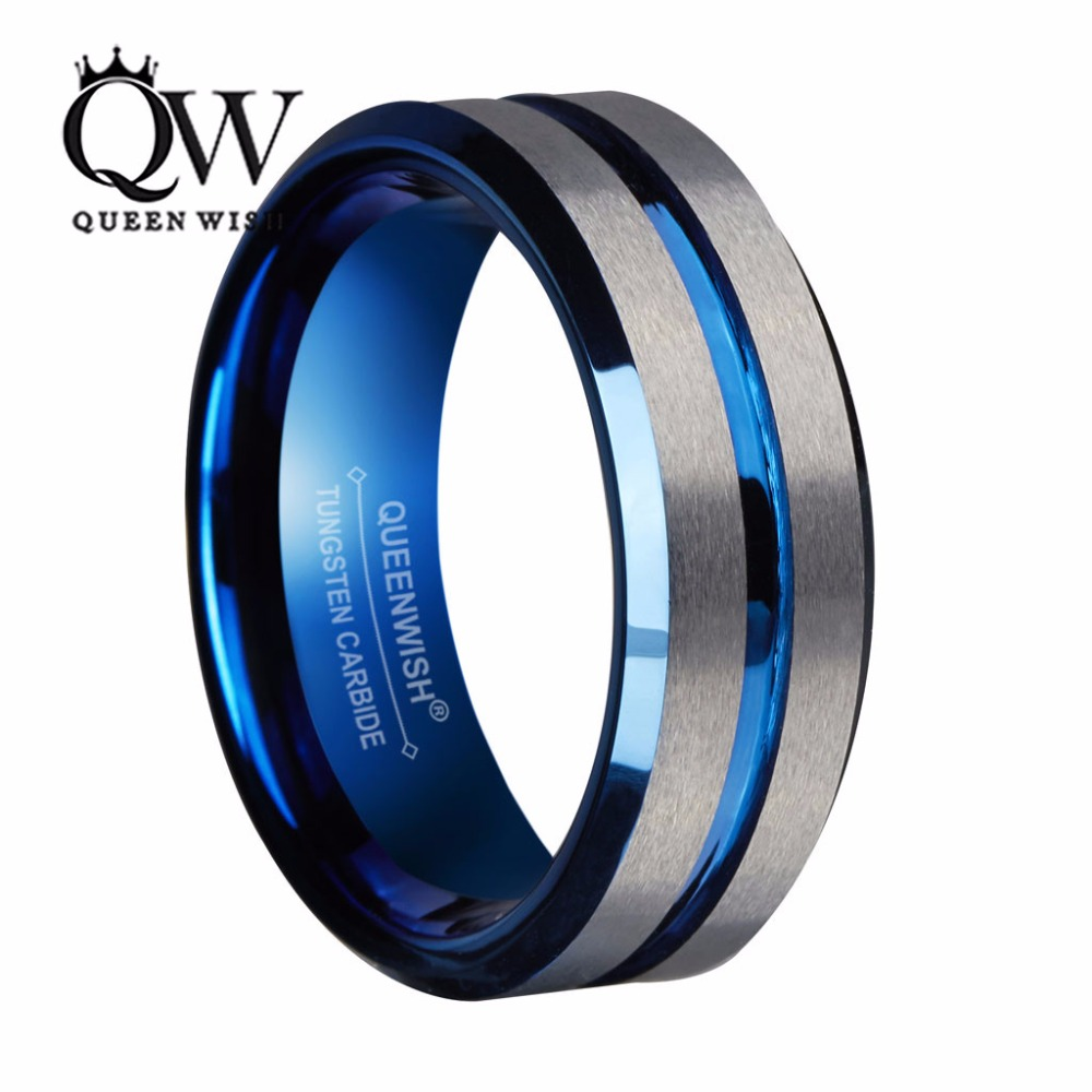 Queenwish 8mm Mens Tungsten Wedding Bands Silvering Brushed Matte