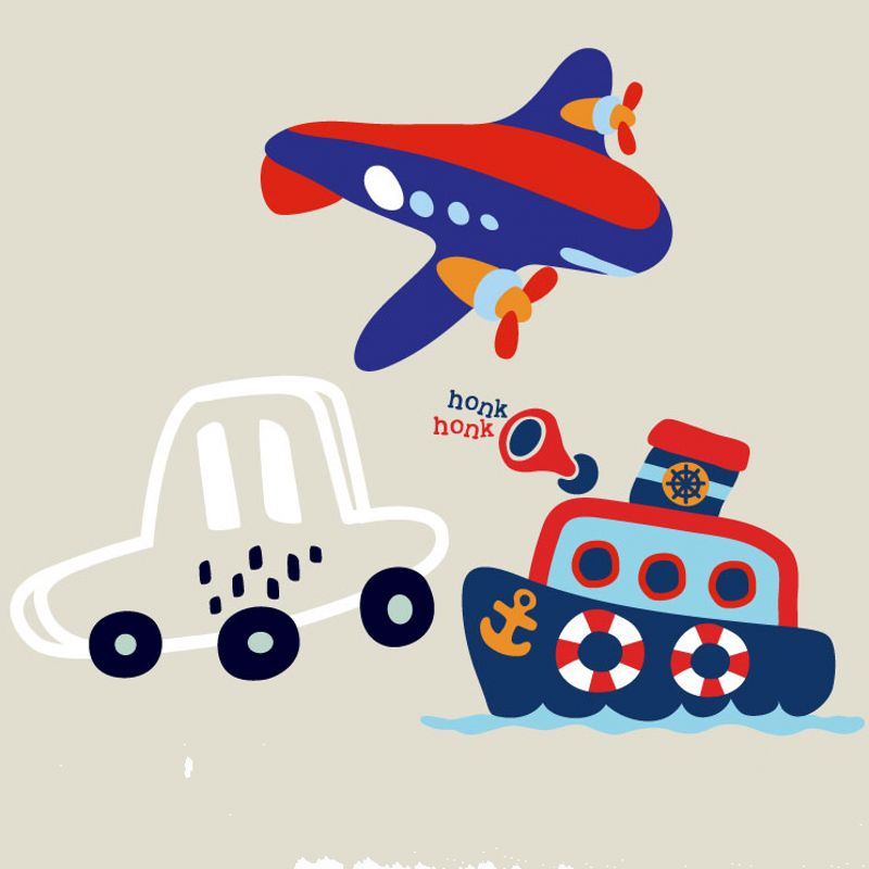Cartoon tanker plane Parches Iron On Stickers Washable Appliques A-level Patches Heat Transfer For DIY Accessory Clothes Bag